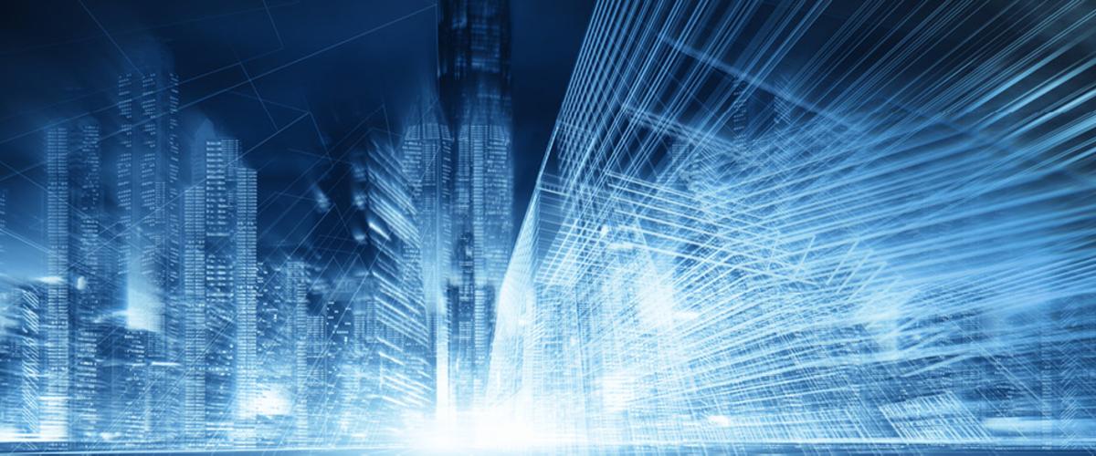 Data streams across cityscape