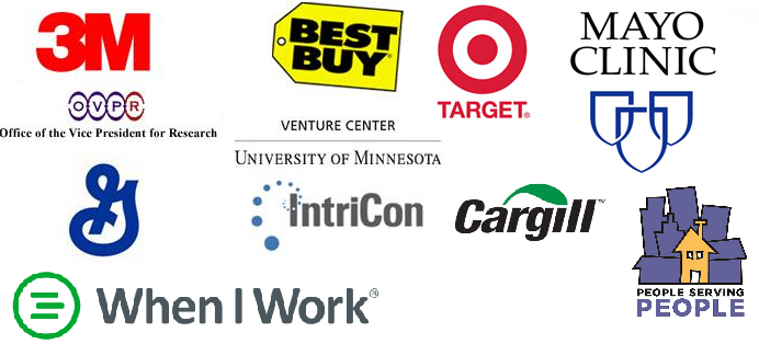 Client Logos: 3M, Best Buy, Target, Mayo Clinic, OVPR, General Mills, Intricon, Cargill, People Serving People, and When I Work