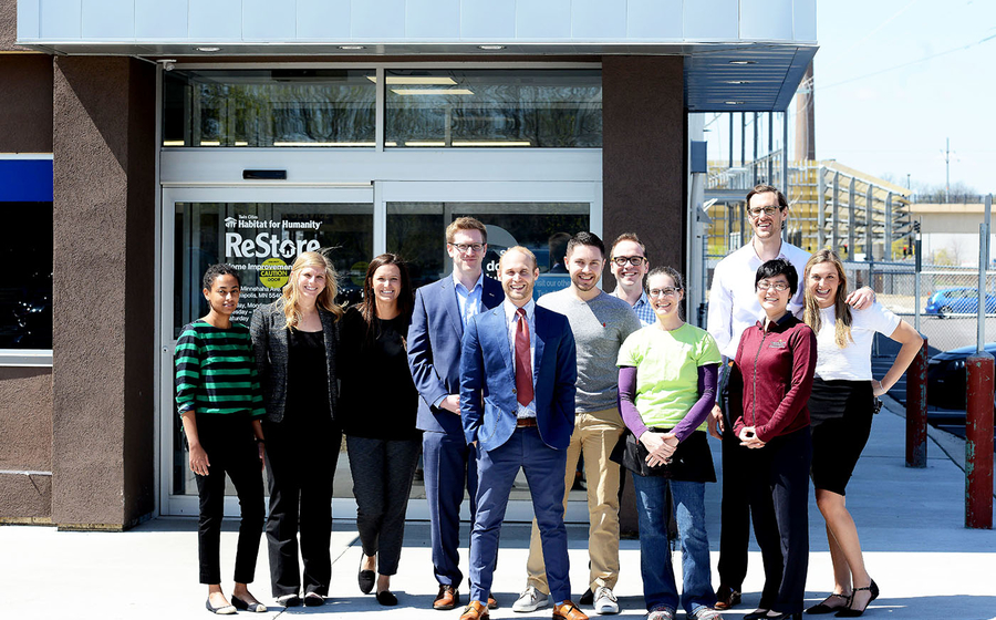 Alison Xu and her MBA students pose outside the Minneapolis ReStore location