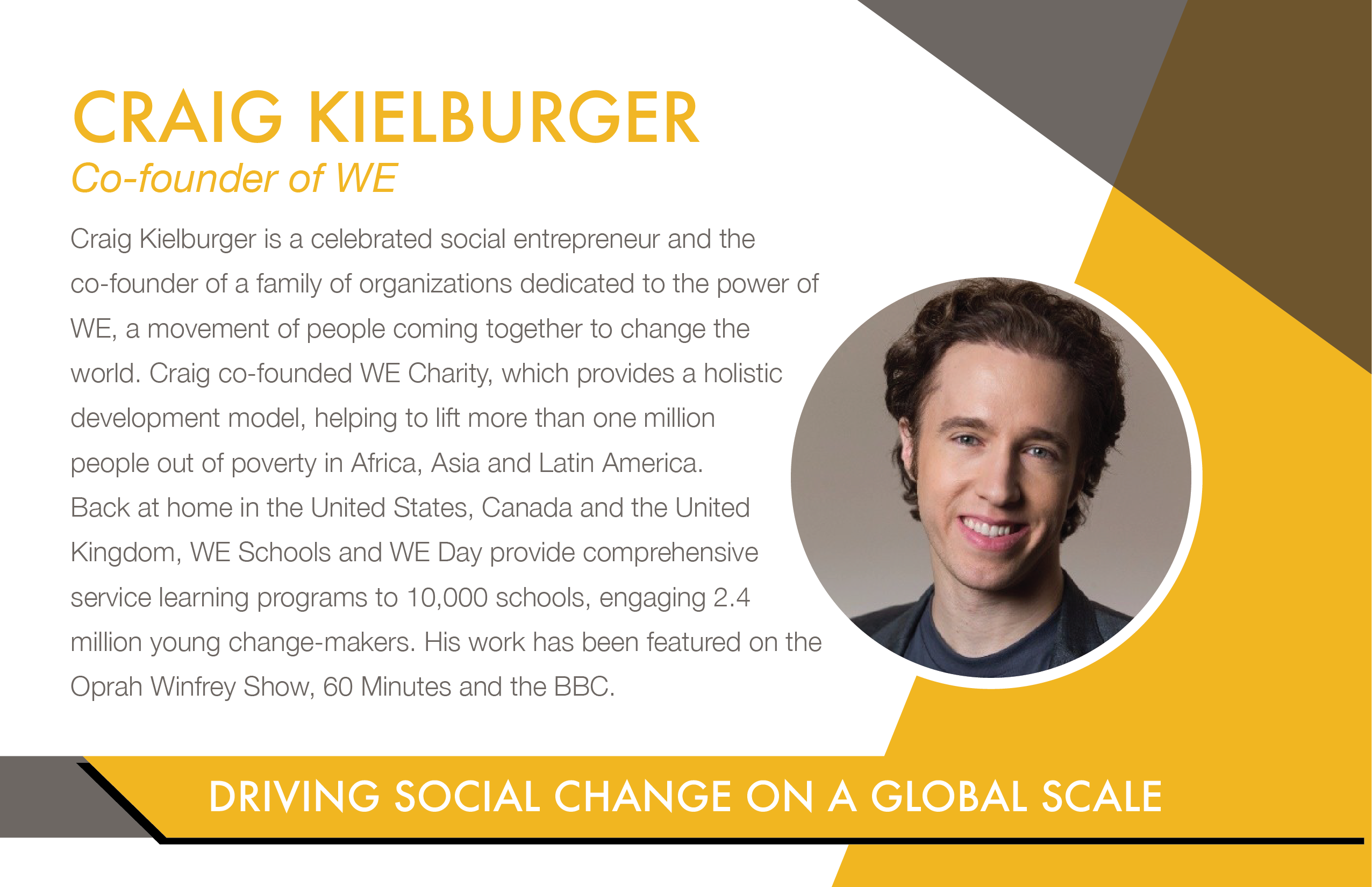 Craig Kielburger's Bio: Social Entrepreneur & Co-Founder of WE Charity