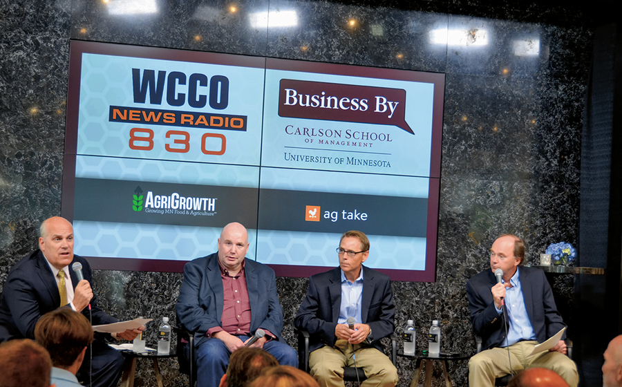Professor Paul Vaaler at a WCCO Round Table on agribusiness