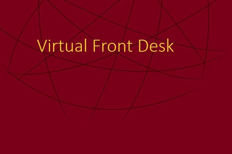 "Maroon image with an abstract globe that says ""Virtual Front Desk"""