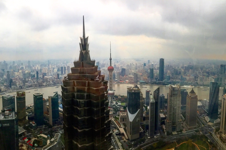 View from the Pudong area of Shanghai. Immediately to the left of the camera not pictured is the Shanghai Tower, the second tallest building in the world.