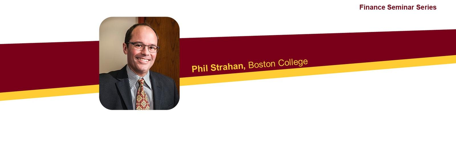 Photo of Philip Strahan with event text